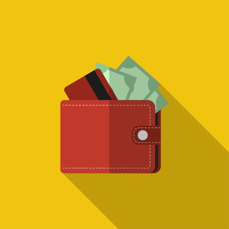 Flat red wallet with card and cash.  Illustration