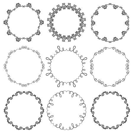 Collection of hand drawn ornamental circle frames. Vector illustration