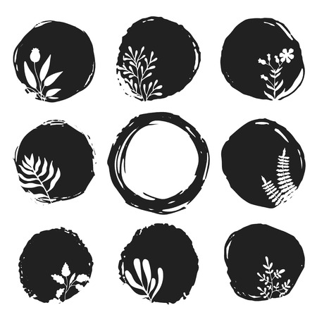Vector ink sketch spots with hand drawn floral elements