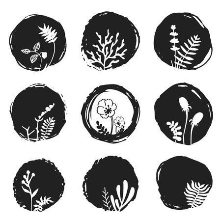 ebon: Vector ink sketch spots with hand drawn floral elements