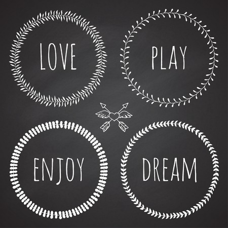 complement: Collection of floral frames. Cute hand drawn floral circle frames on the chalkboard. You can use it for wedding invitation, complements