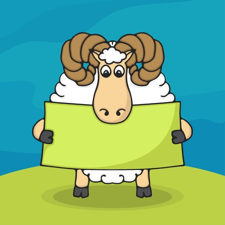 yahoo: Cute hand drawn sheep with empty banner in hands Illustration