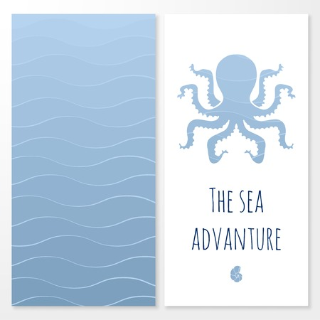 Vector banner with nautical elements and waves Vector