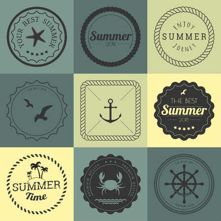 rope background: Collection of design elements. Rope circle frames, labels and badges Illustration