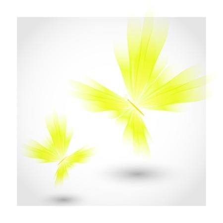 mariposas amarillas: Mariposas amarillas revoloteando aire Vectores