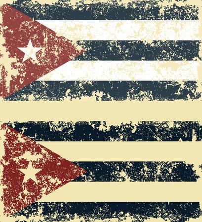 cubana: Rasgu�ado viejo bandera. Ilustraci�n vectorial de la bandera cubana vendimia