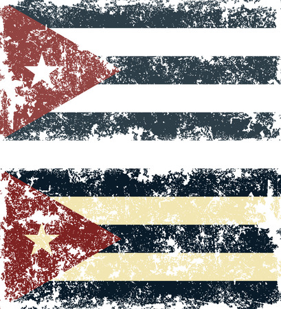 cuban flag: Old scratched flag. Vector illustration of vintage Cuban flag Illustration