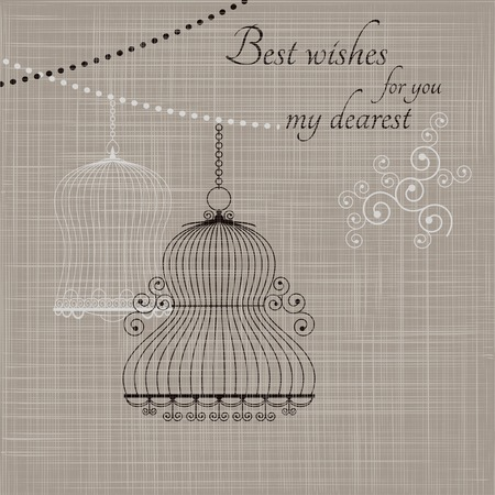 birdcage: Birdcage on the fabric background. Vector illustration