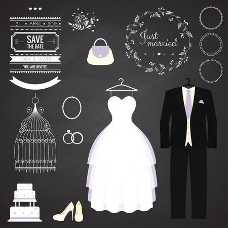 transparent dress: Wedding dresse and groom suit with different accsessories and attributes. Vector illustration. Modern style