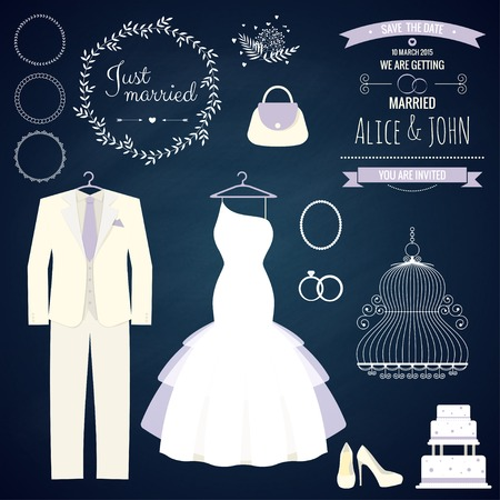 wedding dress: Wedding dresse and groom suit with different accsessories and attributes. Vector illustration. Modern style