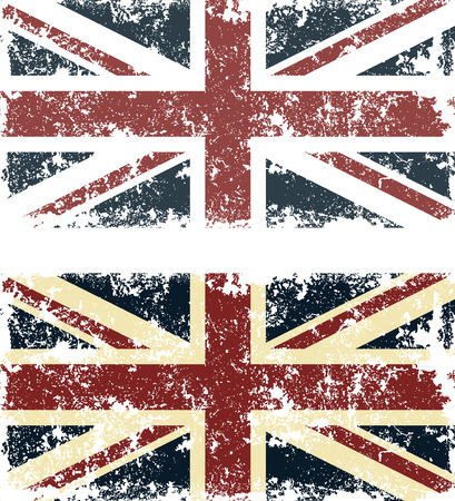 Old scratched flag. Vector illustration of vintage English flag Ilustração