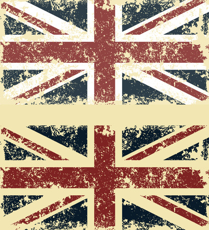 Old scratched flag. Vector illustration of vintage English flag Çizim