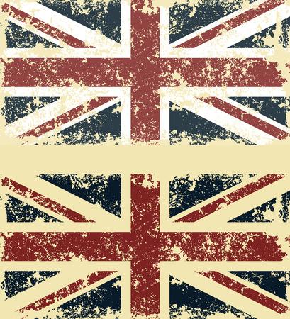 Old scratched flag. Vector illustration of vintage English flag Stock Illustratie