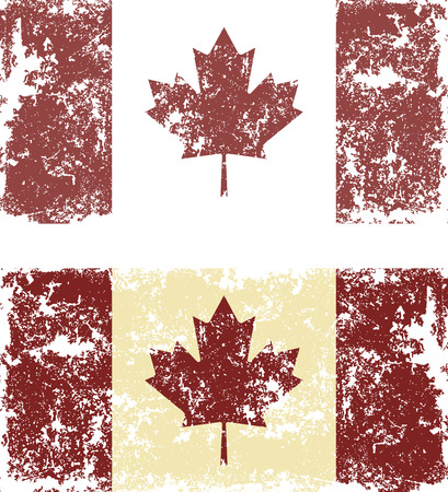 canadian flag: Old scratched flag. Vector illustration of vintage Canadian flag