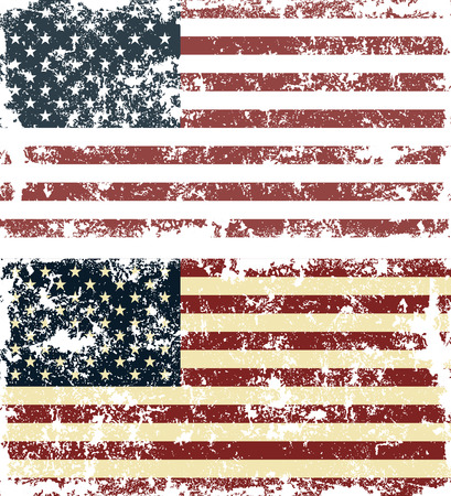 Old scratched flag. Vector illustration of vintage USA flag Çizim