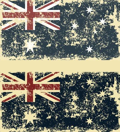 grunge union jack: Old scratched flag. Vector illustration of vintage Australian flag