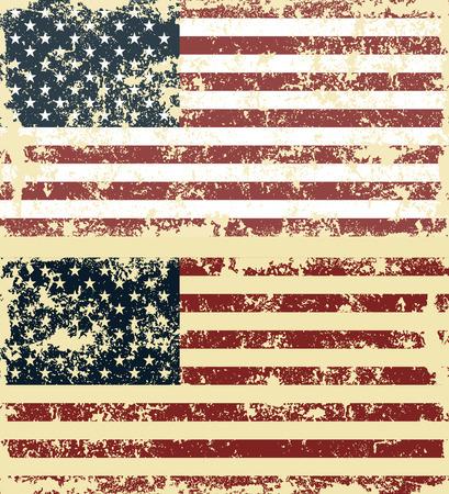 Old scratched flag. Vector illustration of vintage USA flag Ilustração