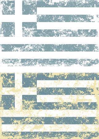 greek flag: Old scratched flag. Vector illustration of vintage Greek flag Illustration