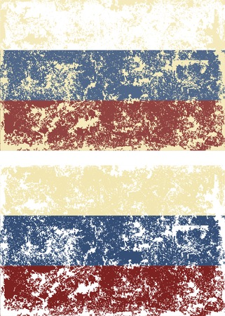 russian: Old scratched flag. Vector illustration of vintage Russian flag