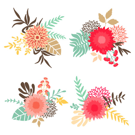 isoated: Collection of bouquets with flowers and leaves. Can be used for invitation design, wedding, greeting and birhday cards, etc. hand drawn illustration isoated on white background