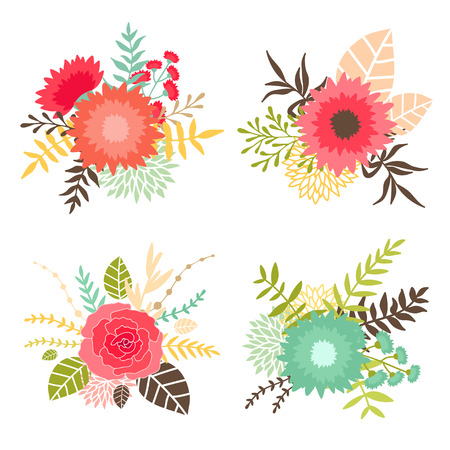 isoated: Collection of bouquets with flowers and leaves. Can be used for invitation design, wedding, greeting and birhday cards, etc. Vector hand drawn illustration isoated on white background