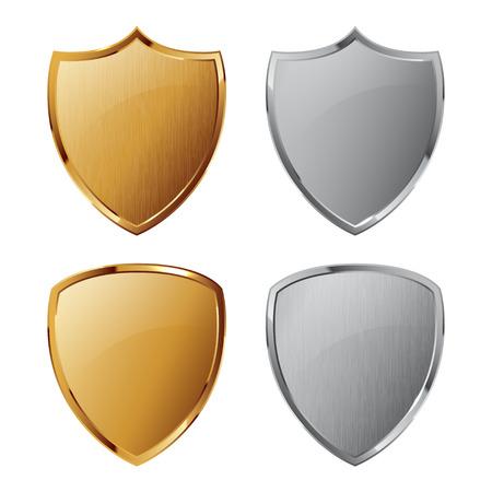 escudo: Colección de escudos de plata y de oro con y sin textura de metal. Símbolo de Seguridad. Vectores