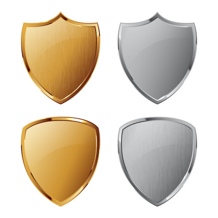 3d shield: Collection of silver and golden shields with and without metal texture. Security symbol.