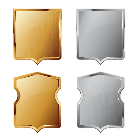 iron defense: Collection of silver and golden shields with and without metal texture. Security symbol.