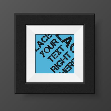 passepartout: Realistic photo frame. Black passe-partout for  design projects Illustration