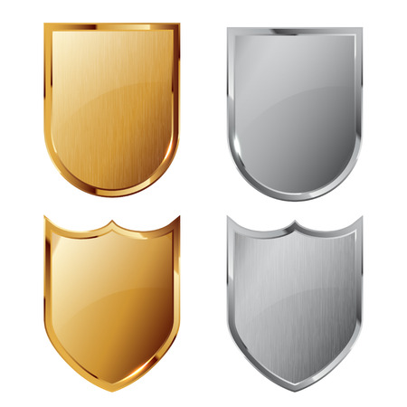 shield emblem: Collection of silver and golden shields with and without metal texture. Security symbol.
