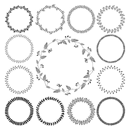 Big collection of circle cute hand drawn floral frames, borders isolated on the white background with copyspace for  text. Romantic wreaths. Can be used for invitation, RSVP and other cards