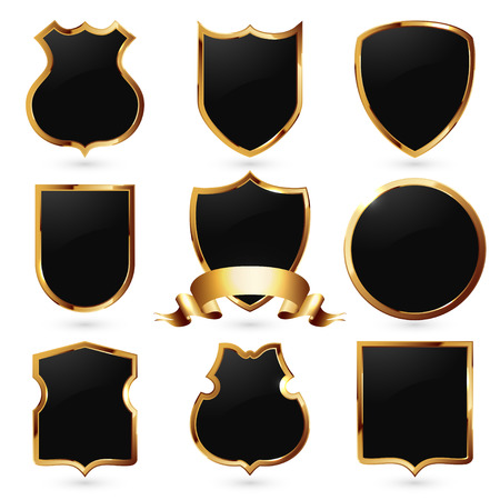 security symbol: Collection of royal black and gold shields. Security symbol.