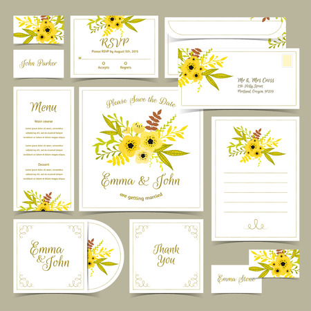 Collection of wedding invitations. Card template. Floral RSVP card, invitation, menu