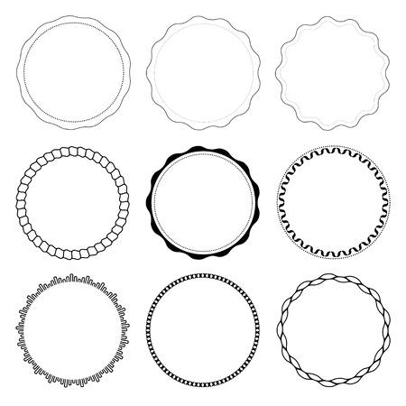 白い背景に分離された 9 のサークル デザイン フレームのセット  イラスト・ベクター素材