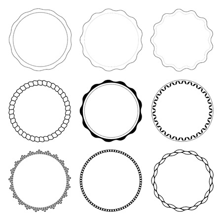 Set of 9 circle design frames isolated on white background