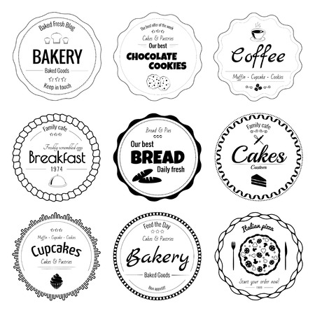 Set of 9 circle bakery labels isolated on white background