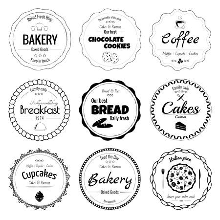 Set of 9 circle bakery labels isolated on white background