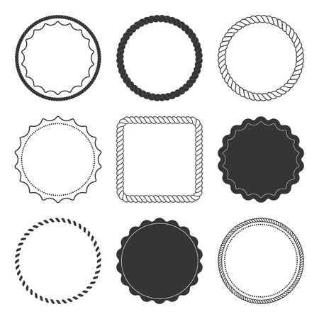 round icons: Set of 9 design summer elements, frames, borders isolated on white background