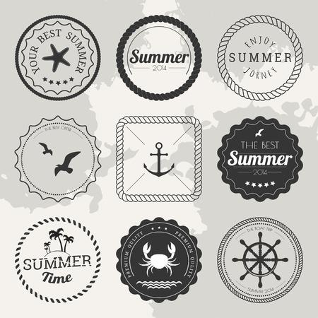 rope border: Set of 9 design summer elements, frames, borders isolated on white background