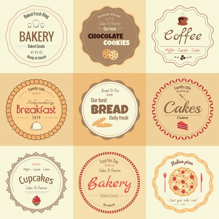 Set of 9 circle bakery labels, warm colors