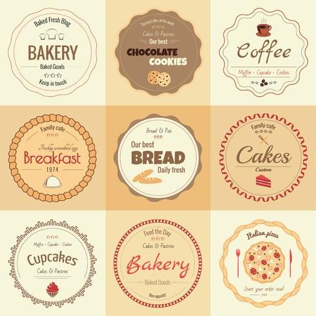 colores calidos: Conjunto de 9 círculo etiquetas de panadería, colores cálidos
