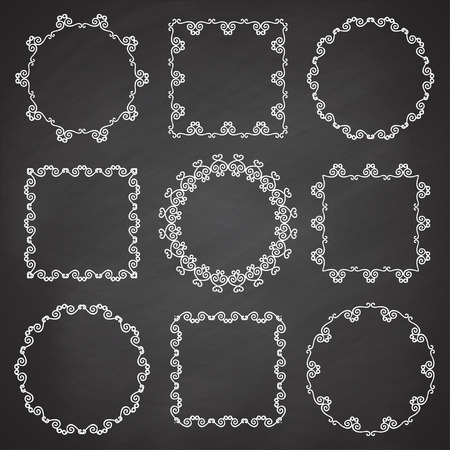 complement: Collection of ornamental frames. Cute hand drawn circle and square frames on the chalkboard.