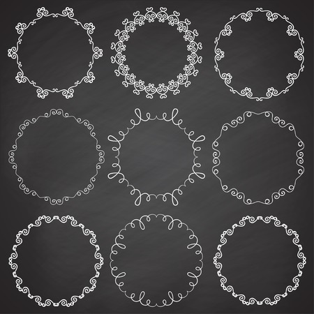 complement: Collection of ornamental frames. Cute hand drawn circle frames on the chalkboard.