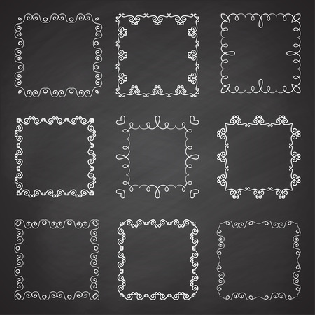 complement: Collection of ornamental frames. Cute hand drawn square frames on the chalkboard.