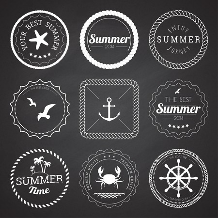 Set of 9 circle summer frames, borders on the chalkboard background