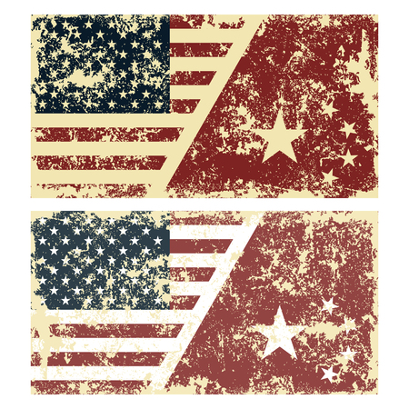 Old scratched flags of China. Vector illustration of vintage flags of USA and China. Removable scratches.