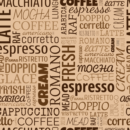 Coffee words, tags. Seamless pattern