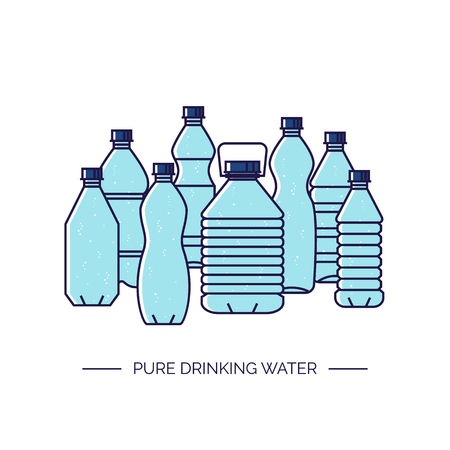 Pure drinking water. Line vector illustration of a group of plastic bottles isolated on white background. Ilustração