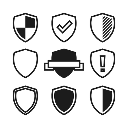 Set of shield Icons. Black and white vector illustration isolated on white background. 矢量图像