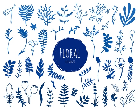 Collection of hand drawn blue waterlocor floral elements. You can use the set to create your own compositions.